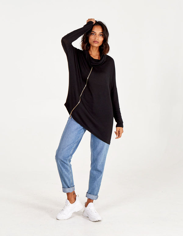 IZZY -  Roll Neck Burst Seam Black Jumper