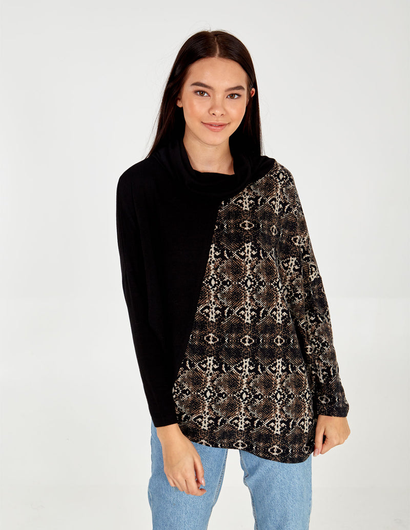 NATALIE - Colour Block Snake Print Cowl Top