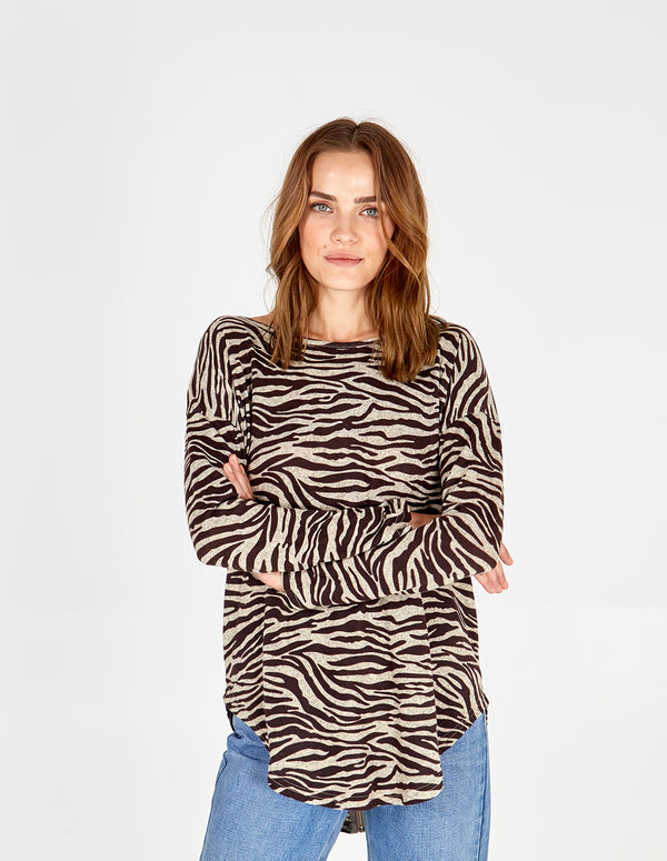 EBONY - Zebra Diamante Zip Back Top