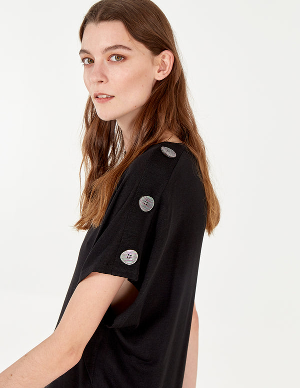 HEIDI - Button Shoulder Oversized Top