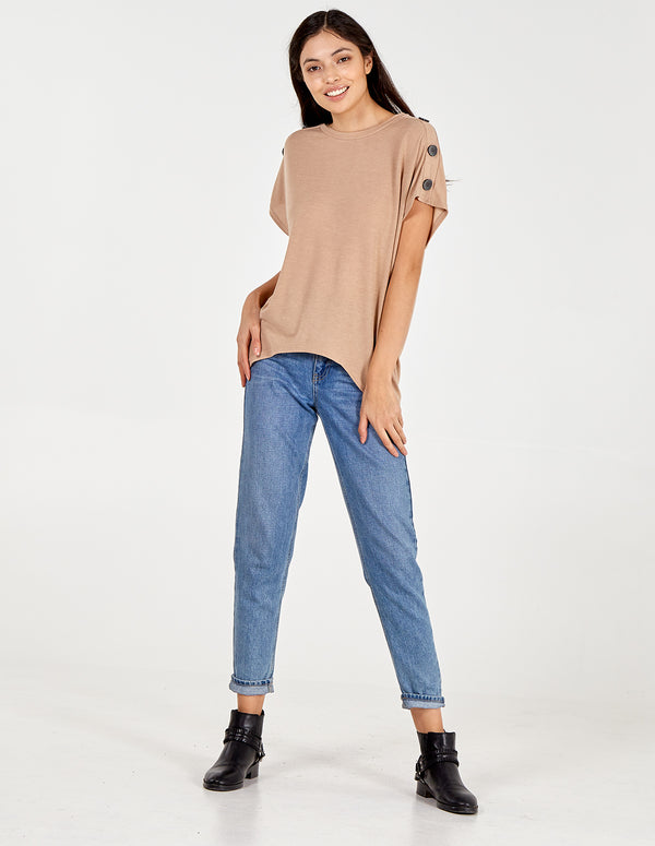 ANA - Button Shoulder Oversized Top