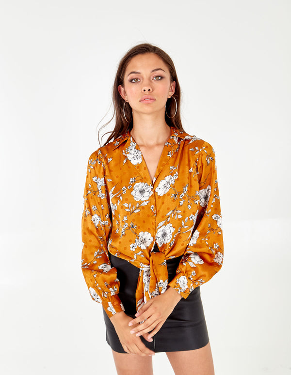 NORA - Gold Flower Polka Dot Button Shirt