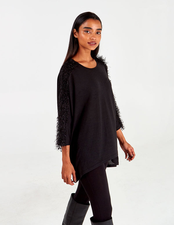 NIA - High Low Feather Yarn Shoulder Top