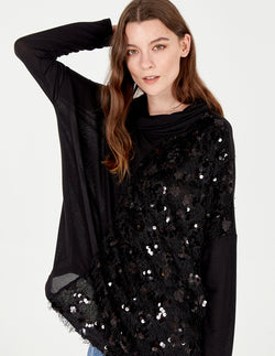 EMME - Asymmetric Sequin Yarn Cowl Neck Top