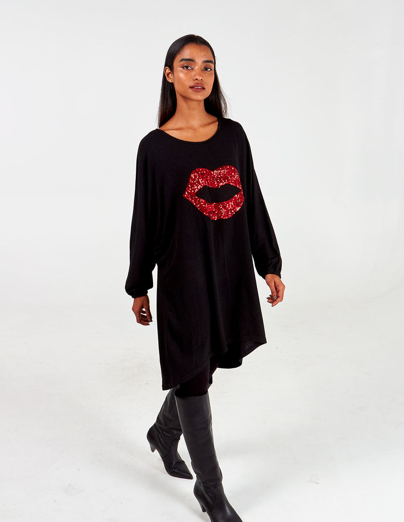 DEMI - Sequin Lips Oversized Batwing Top
