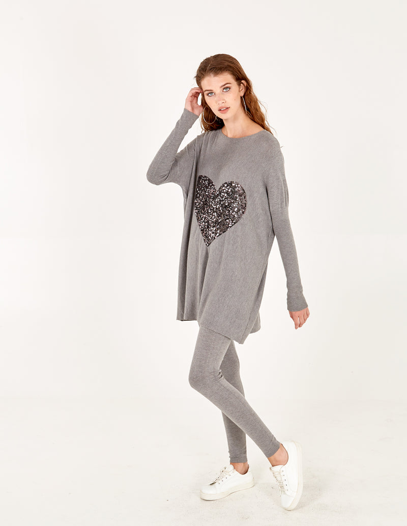 TIANA - Grey Heart Top With Leggings Set