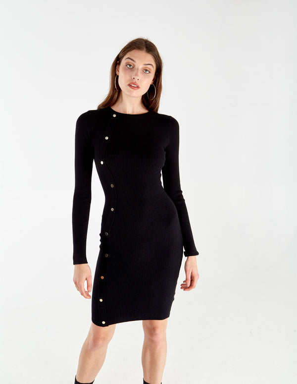 ANAIS - Black Button Fron Rib Dress