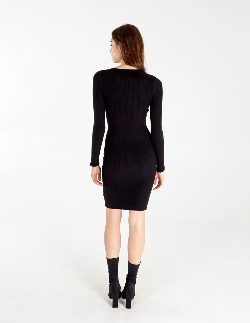 ANAIS - Black Button Front Rib Dress