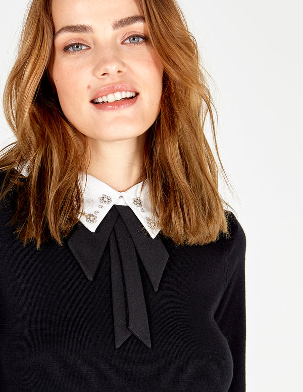 ATHENA - Black Embellished Collar Peplum Top