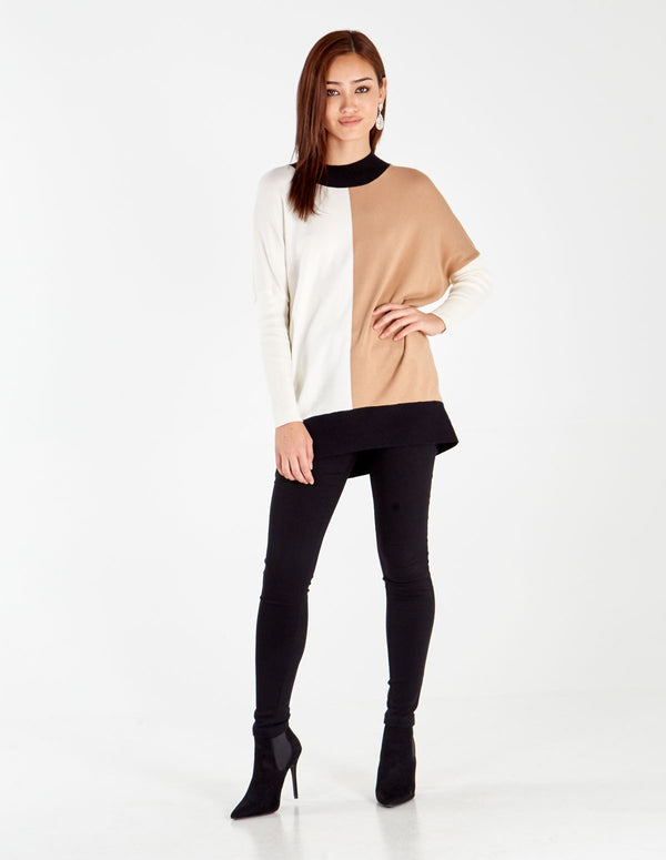 PIXIE - Camel/Cream/Black Block Funnel Neck Jumper
