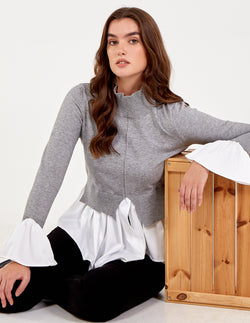 IZABELLA - High Neck Cuff And Hem Shirt Jumper