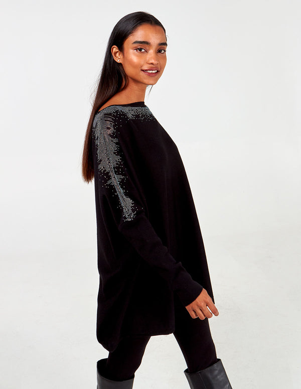 LEELA - Gem Shoulder Oversized Top