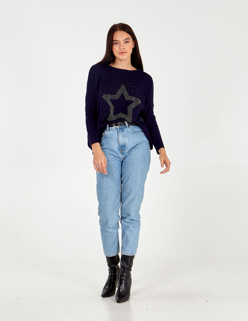 SASHA - Embellished Star Batwing Tunic Top
