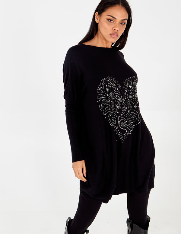 ELLEN - Heart Pattern Gem Batwing Top