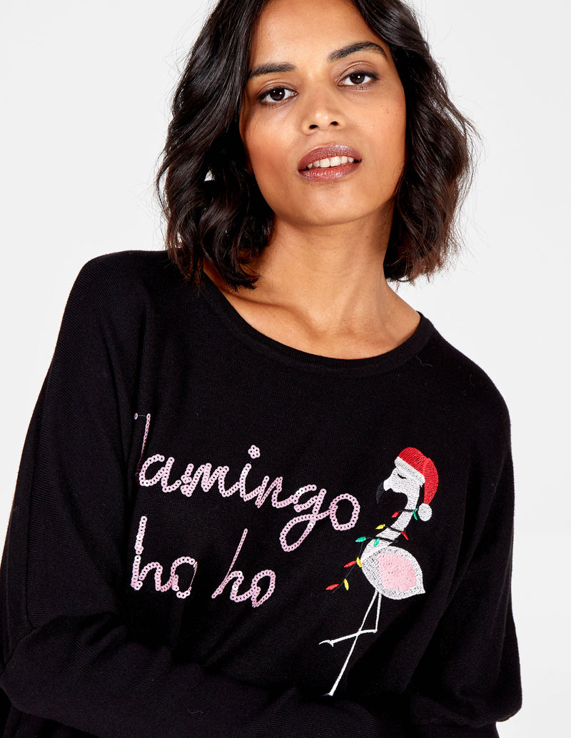 STELLA - Sequin Flamingo Ho Ho Xmas Jumper