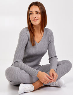 ALMA - V Neck Ribbed Jumper & Leggings Set