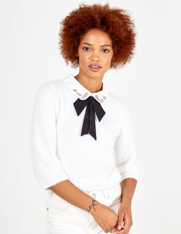 DOROTHY - White Diamond Collar Top