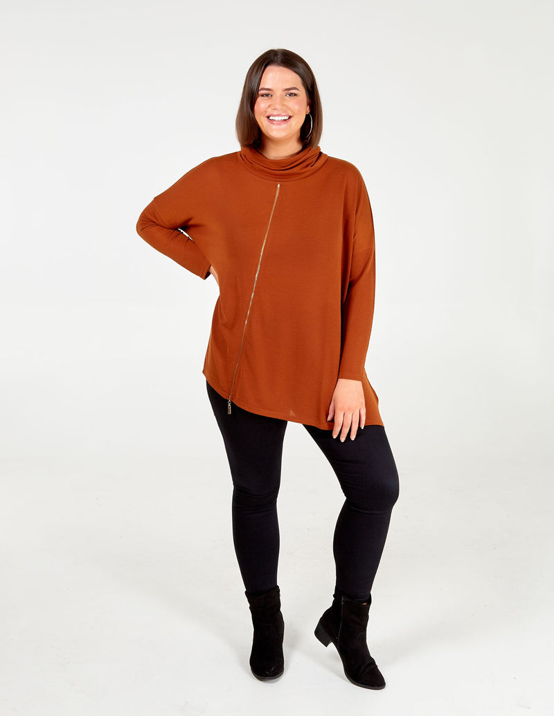ALEXIA - Curve Asymmetric Cowl Neck Zip Top