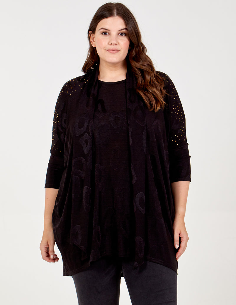 KAYA - Curve Embellished Tunic and Scarf Set