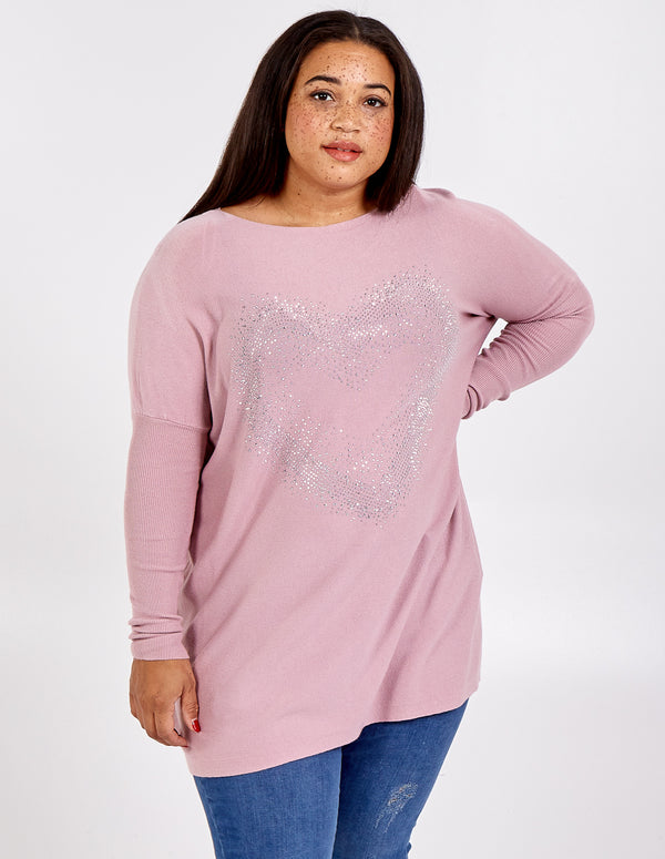 BETH - Curve Gem Heart Oversized Jumper