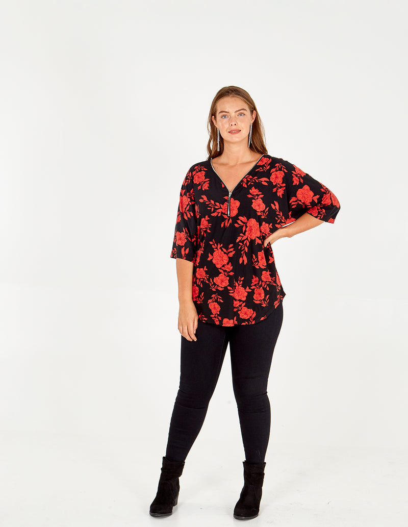 HAYLEY - Curve Floral Zip Top