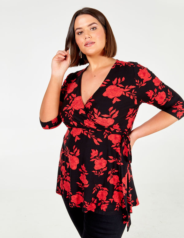 CERYS - Curve Floral Fixed Wrap Top