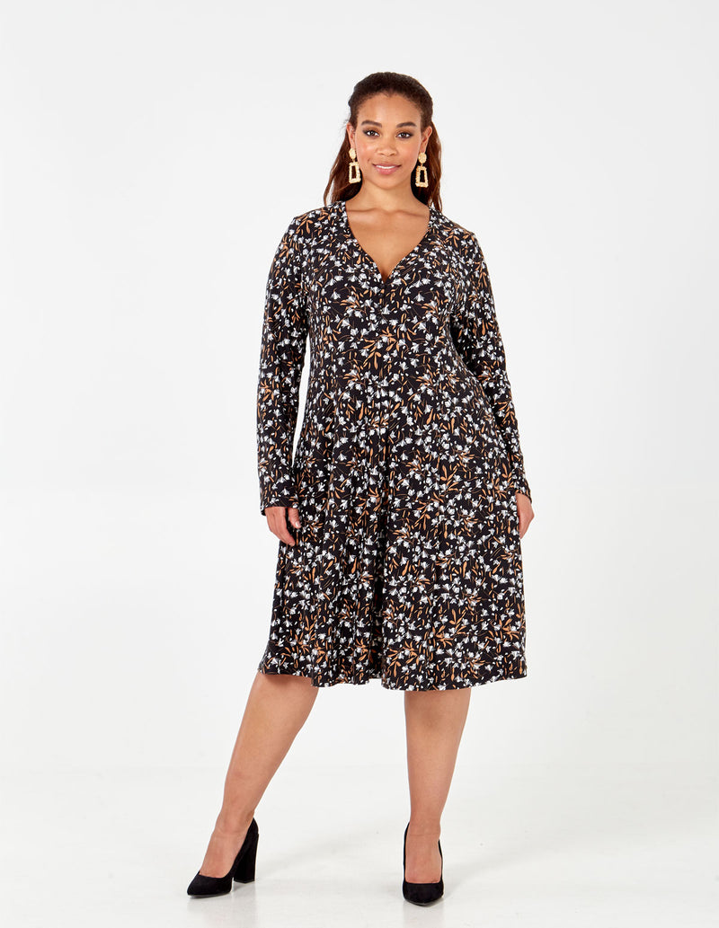 VERITY - Curve Button Front Fit and Flare Dress