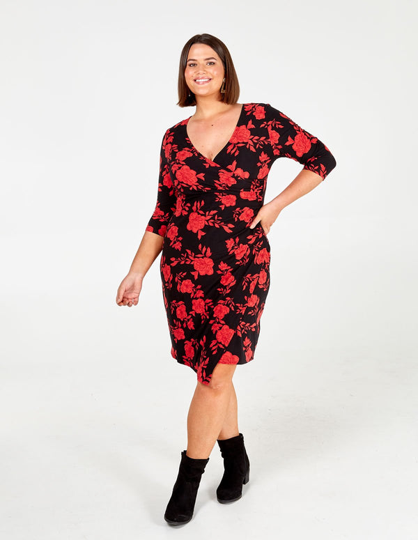 DIANA- Floral Side Ruched Dress