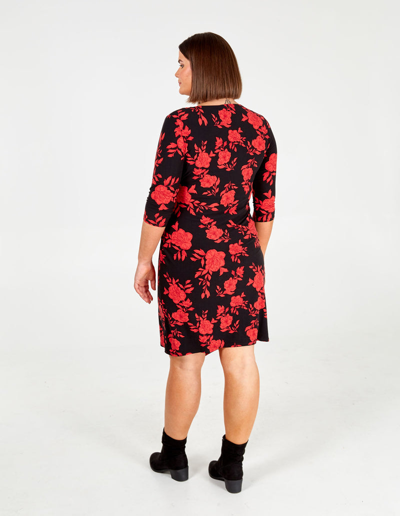 DIANA - Curve Floral Side Ruched Dress