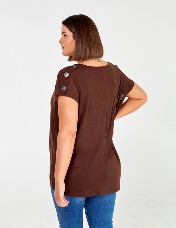 IONA - Curve Button Shoulder Top