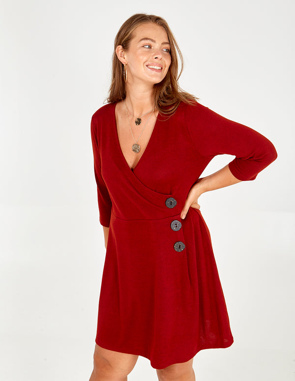 MADELINE - Curve Wrap Button Down Dress
