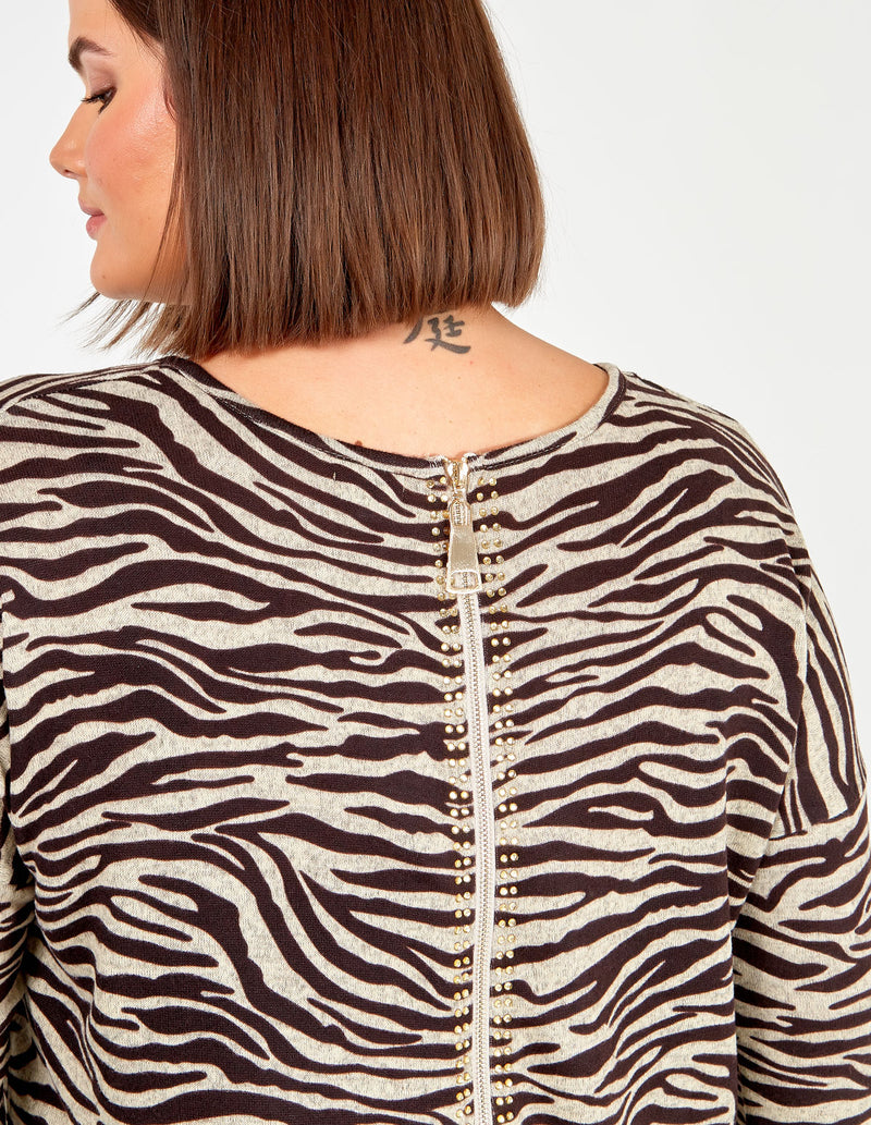 EBONY - Curve Zebra Print Zip Back Top