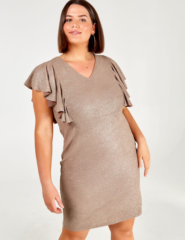 TIA - Curve Metallic Frill Midi Dress