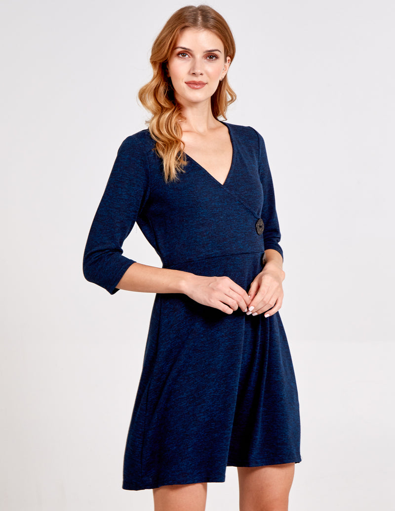 BISREEN - Wrap Front Button Side Flare Dress
