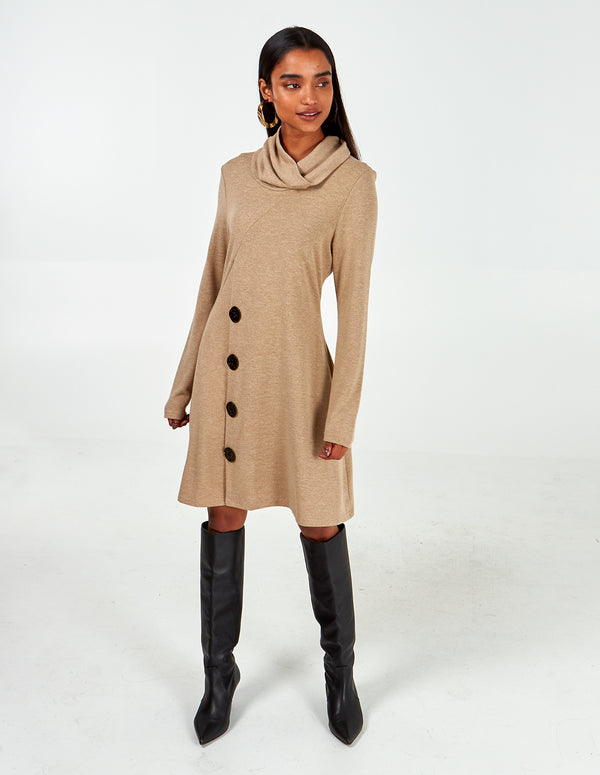 LIBERTY - Oatmeal Roll Neck Side Button Dress