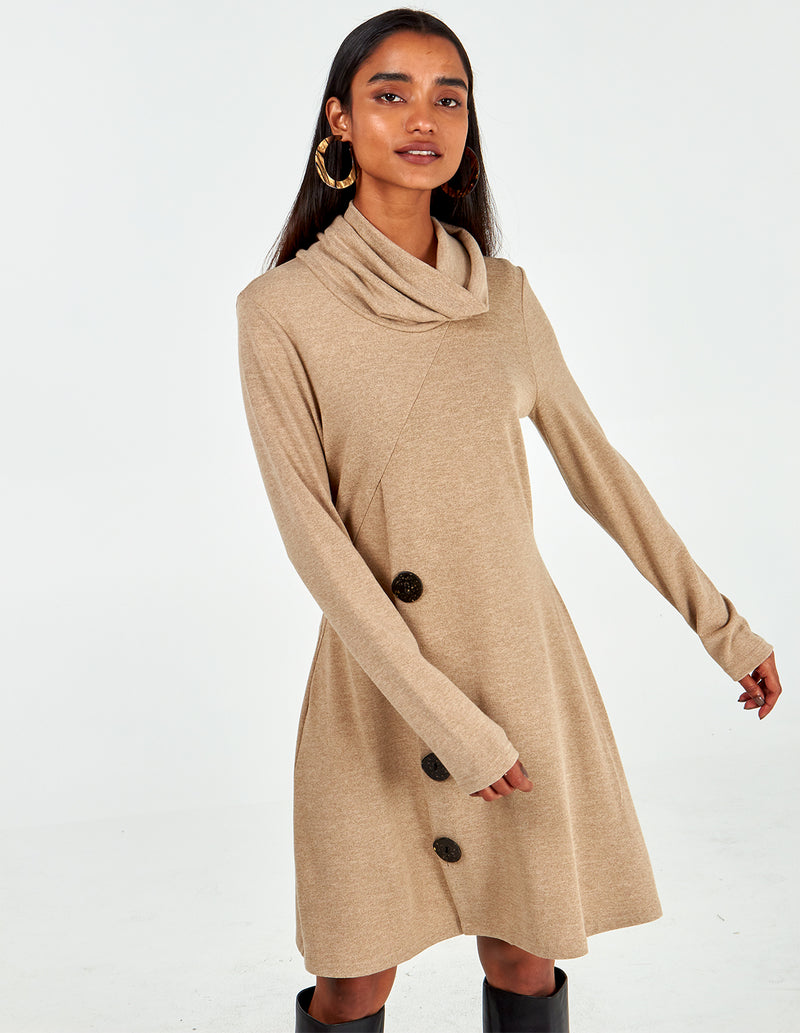 LIBERTY - Roll Neck Side Button Dress