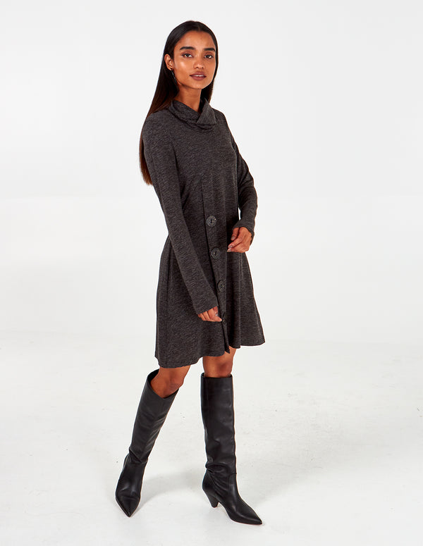 LIBERTY -  Melange Roll Neck Side Button Dress