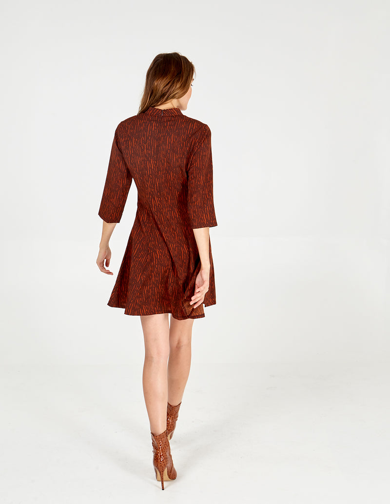ANNALISE - High Neck 3/4 Sleeve Fit & Flare Dress
