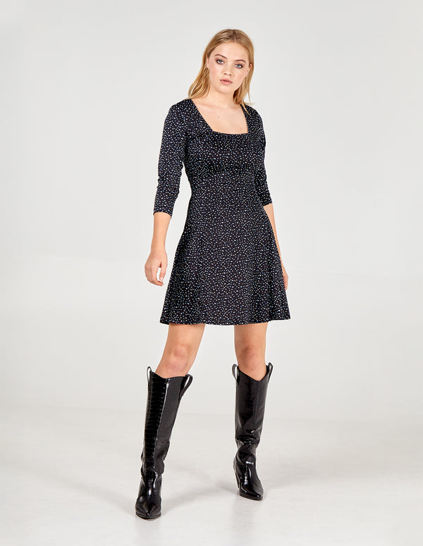 ELA - 3/4 Sleeve Square Neck Swing Dress