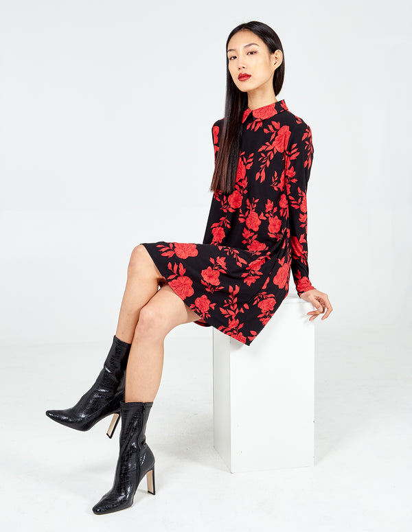 HARLEY - Floral Collar Detail Swing Dress