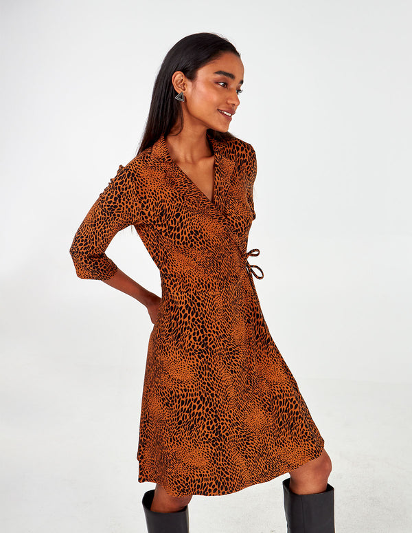 RIA - Appaloosa Spot Print Collar Front Wrap Dress
