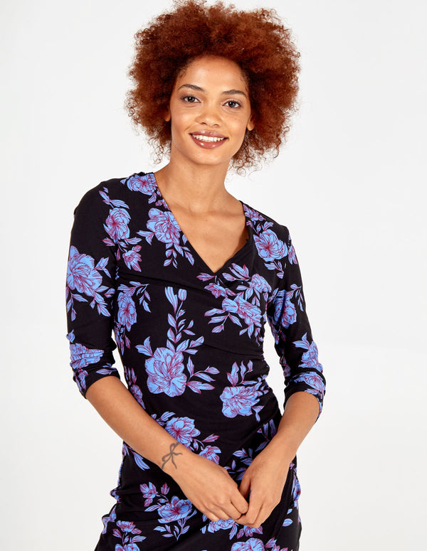 QUINN - Floral Side Gather Wrap Dress
