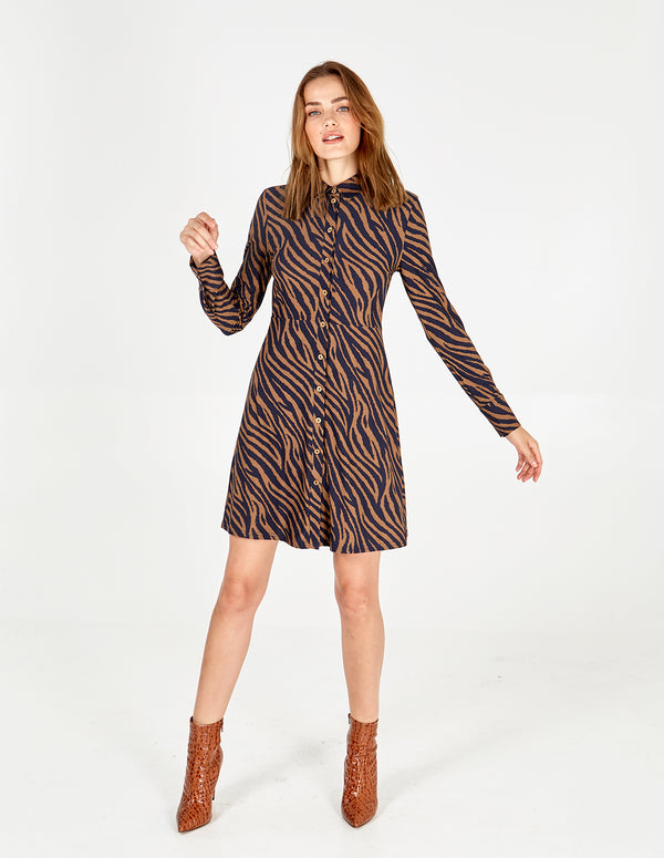 GENEVIEVE - Zebra Stripe Button Front Shirt Dress