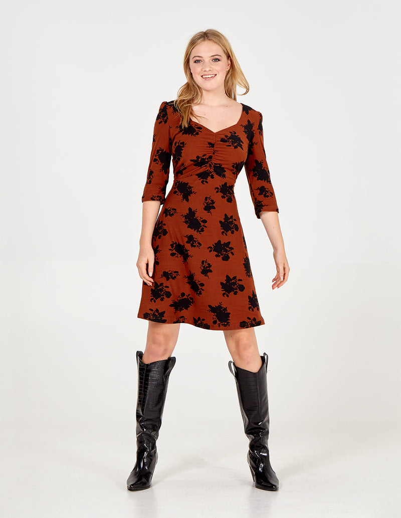 NYLAH - Rust Floral Ruched Front Tea Dress