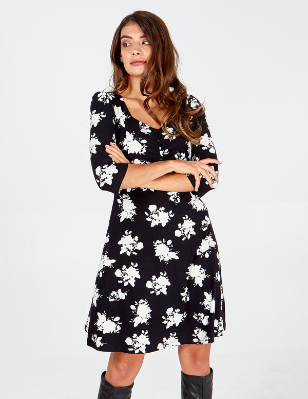 NYLAH - Black Floral Ruched Front Dress