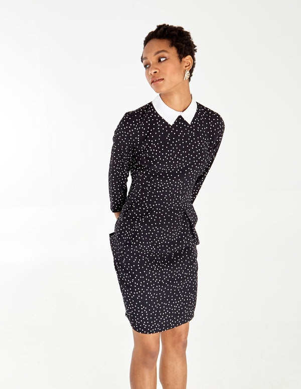 VINNIE - Collar Long Sleeve Tulip Dress