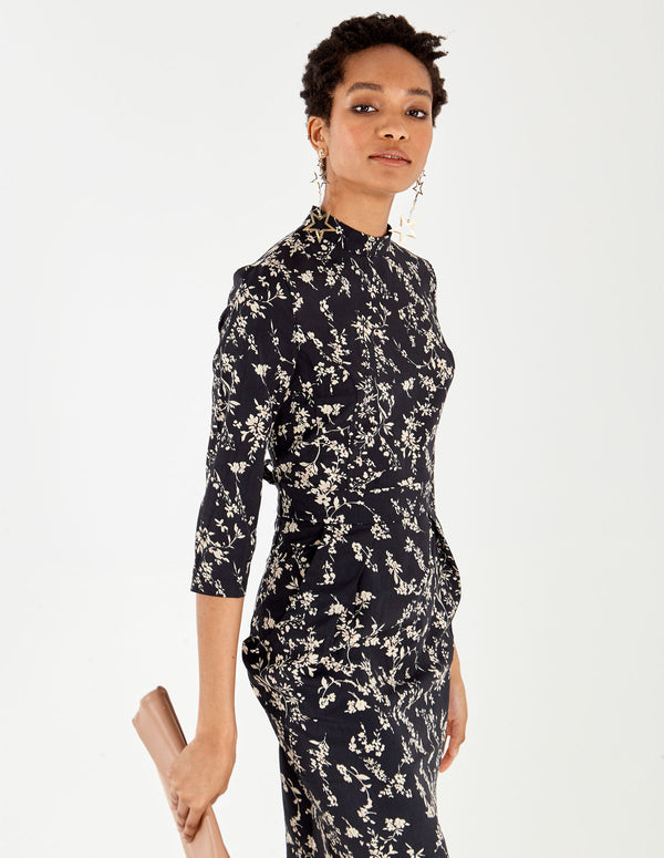 JETTA - High Neck Floral Print Tulip Black Dress