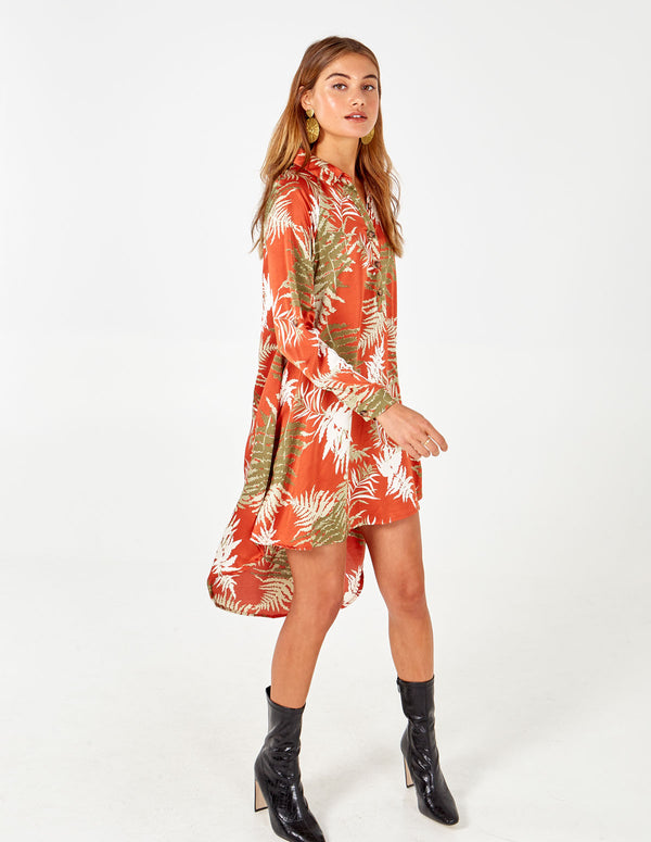 AMEERA - Rust High Low Tunic Dress