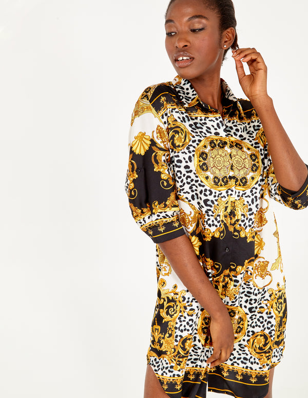 KEATON - Button Front Oversized Gold/Black Tunic Dress
