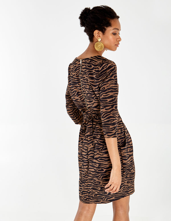 CALYPSO - Camel Square Neck Tulip Dress